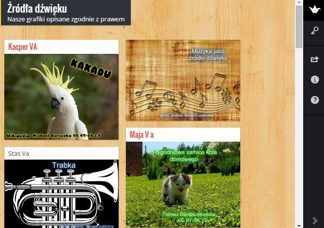 Ostatnio, na lekcjach przyrody odkrywaliśmy świat dźwięków. Dzisiaj uczniowie klasy V a uczyli się wyszukiwać grafiki i opisywać je zgodnie z prawem autorskim. Korzystali z zaawansowanego wyszukiwania Google. Tematem pracy było wyszukanie grafiki pokazującej źródło dźwięku. Zdjęcia edytowane były w aplikacji PiZap. Aby zaprezentować prace uczniów stworzyłam padlet, na którym uczniowie pod koniec lekcji zamieszczali swoje prace.
