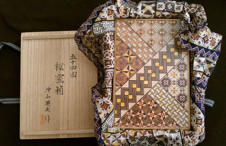 The 6 Sun 54 Step Yosegi Puzzle Box in the original wooden storage case!