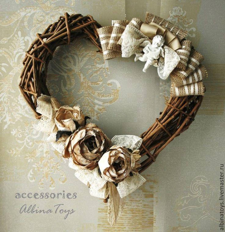 Купить Венки. Интерьерный венок-сердце Таинственное бохо.35 см - венок, интерьерное украшение