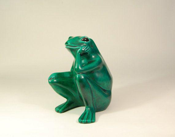 Vintage Ceramic Green Frog Arnel S Signed Curious Garden