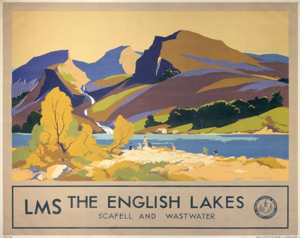 A2  Reprint Vintage LMS Scafell Wastwater Lake District Railway Poster A3