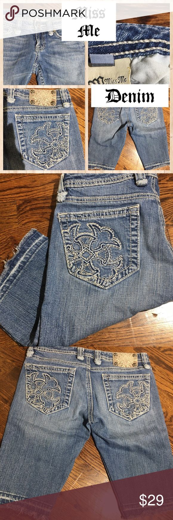"""Miss Me Denim Bermuda Shorts Size 28"""" Miss Me Denim Bermuda Shorts with Factory Let out Hem. Factory frayed belt loops for a distressed look! Just the right amount of embellishment for the latest trend. Back pocket embroidery detailing in a Celtic cross type pattern. No rhinestone Bling. Light wash denim Size 28"""" Miss Me Shorts Bermudas"""