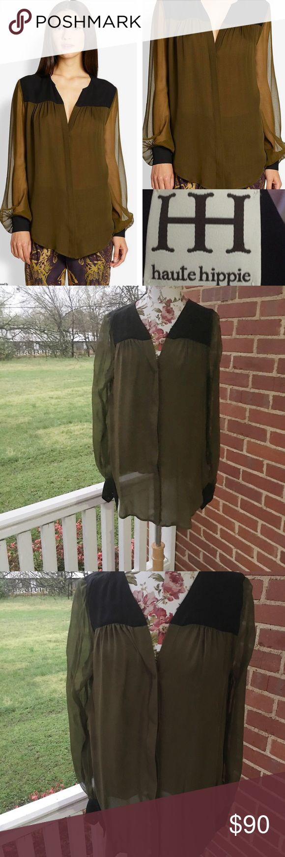 HAUTE HiPPIE blouse Haute Hippie olive blouse! EUC- sheer with great length- sold by Saks - would look amazing with leggings and boots! Haute Hippie Tops Tunics