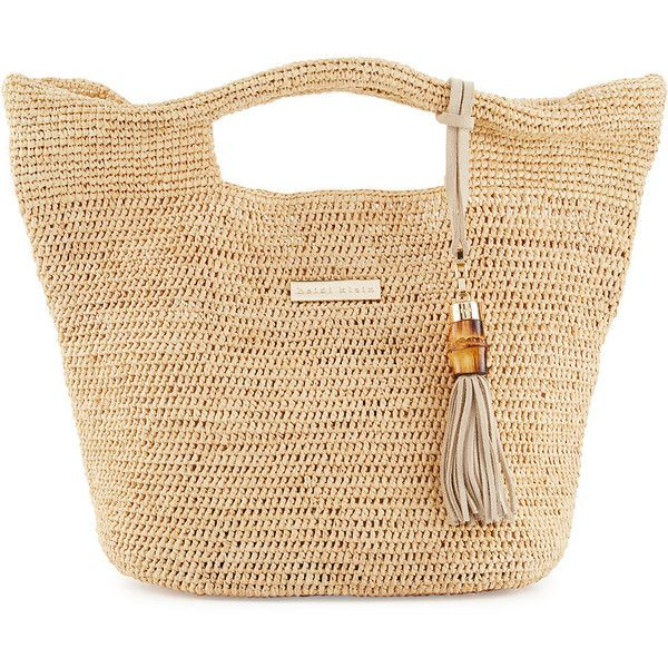 Heidi Klein Grace Bay Mini Raffia Beach Bucket Bag ($270) ❤ liked on Polyvore featuring bags, handbags, tote bags, handbags totes, neutral, beach tote, handbag purse, purse tote, mini tote bags and mini handbags