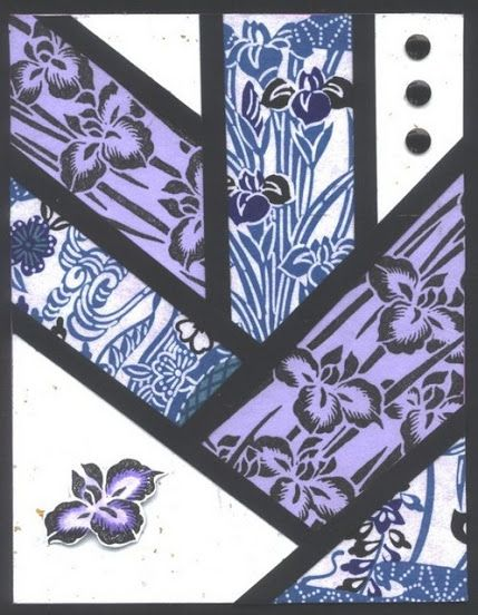 handmade card by Candice Jordan ... Asian theme ... mod look with various panels in a quilt-like herringbone pattern ... Japanese paper and iris stamping ... luv it!