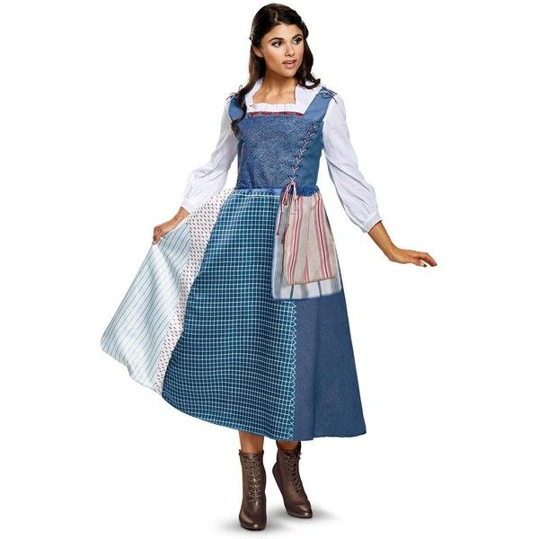 Disney's Beauty and the Beast Live Action Belle Village Dress Deluxe... (€54) ❤ liked on Polyvore featuring costumes, beauty and the beast, halloween costumes, adult stitch costume, blue belle costume, holiday costumes, belle costume and belle halloween costume
