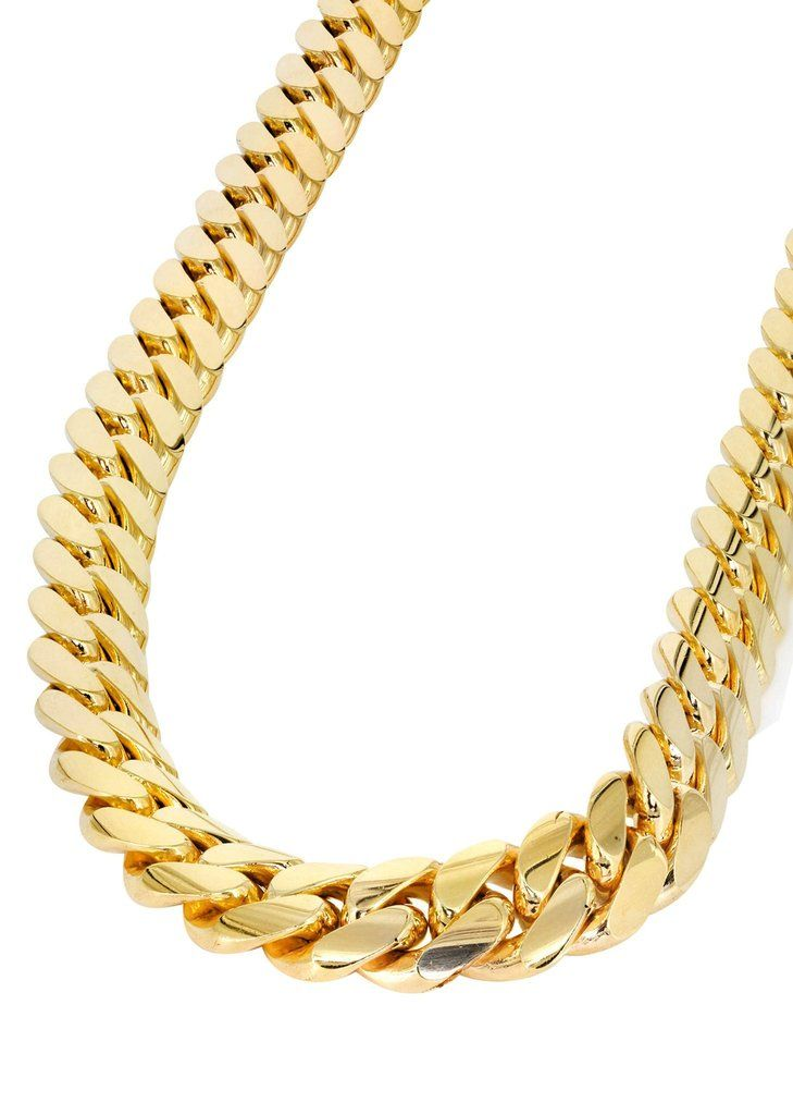 Mens Chain Solid Miami Cuban Link 10k Gold Gold Chains For Men Cuban Link Chain 14k Gold Chain