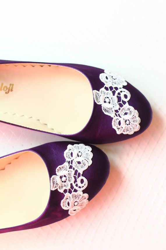 Wedding Flat Shoes Purple Satin Bridal Ballet Flats With Ivory Lace Bride