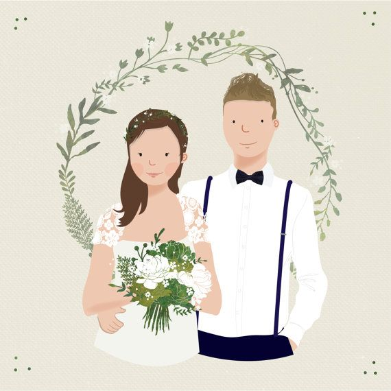 Custom Couple Wedding Save the Date Portrait Illustration by TheBritishRule