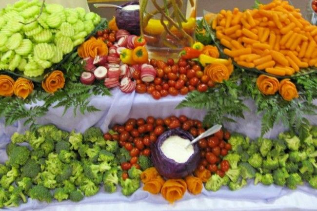 Buffet table food display ideas photo gallery for Best food for wedding reception