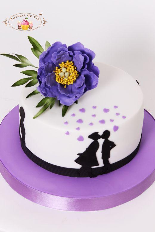 Torturi de vis: Tort pentru aniversarea casatoriei cu bujor mov