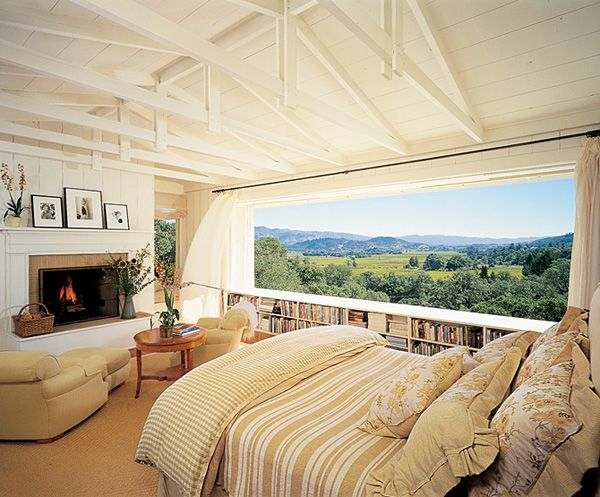 Napa Valley California bedroom design.  Source, Architectural Digest.