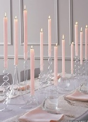 glass candleholders: Tables Sets, Soft Pink, Candles Centerpieces, Candles Holders, Pale Pink, Taper Candles, Martha Stewart, Wedding Centerpieces, Pink Candles