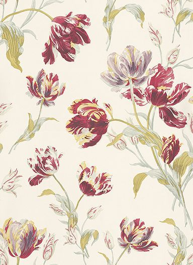 Gosford Meadow by Laura Ashley Cranberry Wallpaper