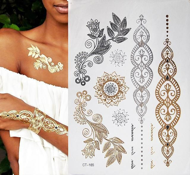 Hot Flash Metallic Waterproof Temporary Tattoo Gold Silver Tatoo Women Henna Flower Taty Design Metal Tattoo Gold Temporary Tattoo Gold Tattoo