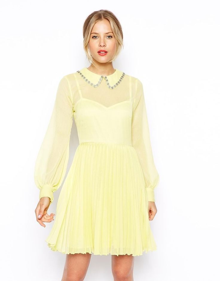 ASOS Embellished Collar Pleat Skater Dress size UK 6/EUR 34 new from ASOS store #ASOS #Sexy #Cocktail