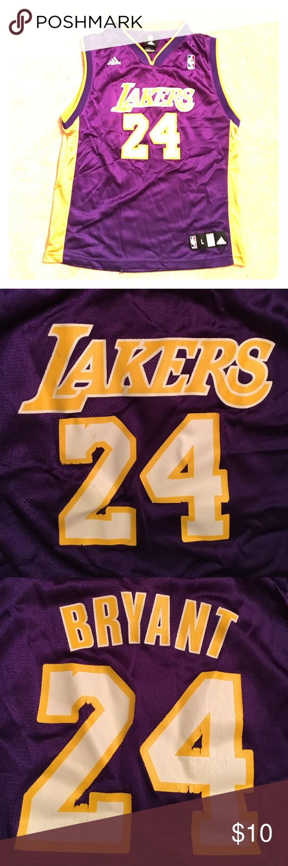 🔸NEW LISTING🔸Lakers - Kobe Bryant jersey Youth gently used Kobe Bryant jersey. The prints are slightly worn as pictured, but hardly noticeable unless you're really looking. 100% nylon, mesh-type material. Very lightweight and comfortable. Sized Youth L (14-16) but will fit men's XS. Adidas Shirts & Tops