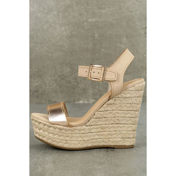 Rena Rose Gold Espadrille Wedges ($39) ❤ liked on Polyvore featuring shoes, sandals, gold, wide width sandals, wedge espadrilles, wedges shoes, wedge heel sandals and strappy sandals