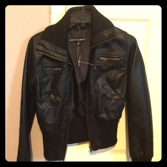 (NEW) Black leather jacket Brand new! Never worn from charlotte rouse! Jackets & Coats