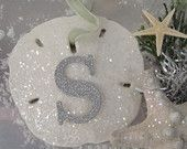 Glitter Sand Dollar Ornament - Monogram Sea Shell Christmas Tree, Beach Christmas Decoration