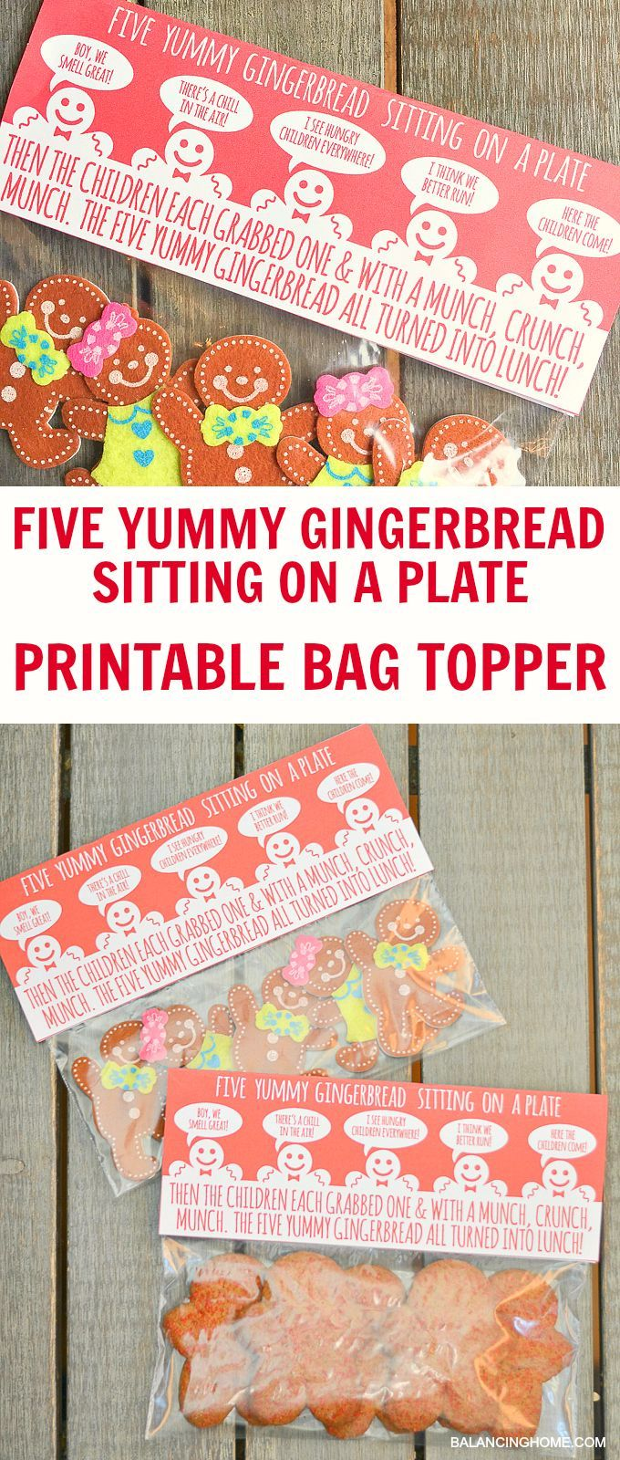 Five Yummy Gingerbread Sitting on a Plate bag topper printable. makes for a great Christmas treat!