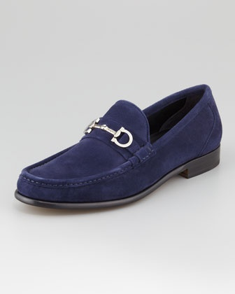 Giostra Suede Loafer, Navy by Salvatore Ferragamo at Neiman Marcus.