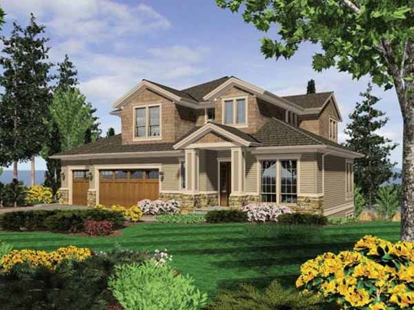 Two stories plus daylight basement the plan has the for Craftsman house plans one story with basement