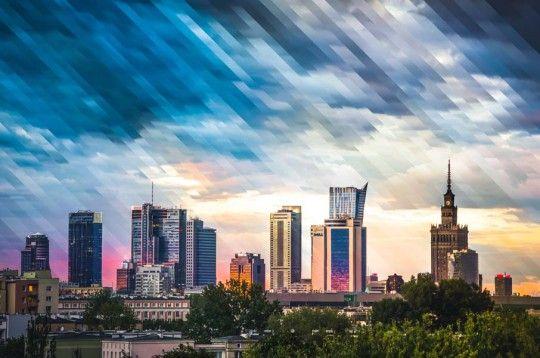 Warszawa Wieżowce Panorama Miasta - plakat premium