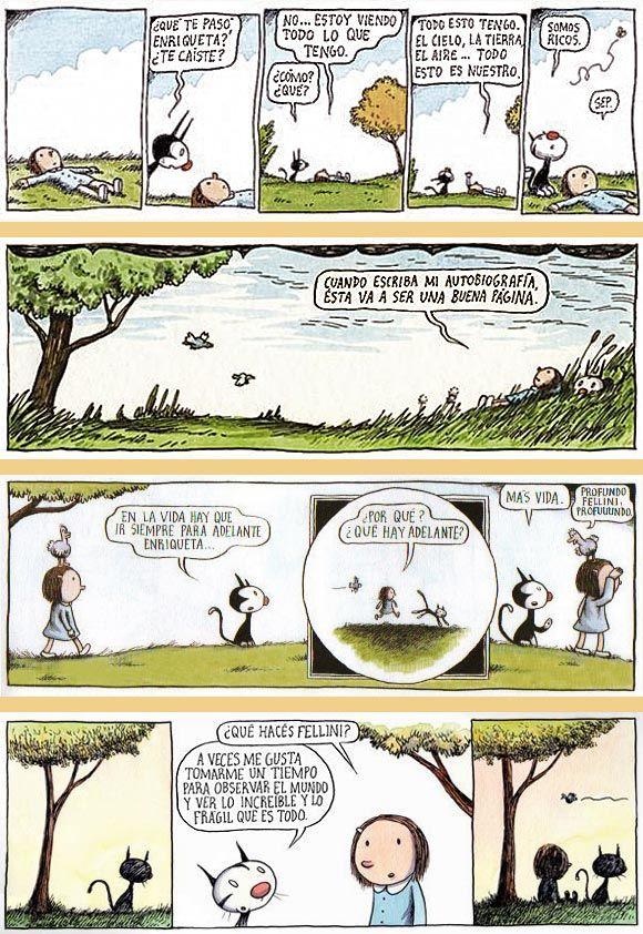 Historietas de Enriqueta y Fellini, por Liniers
