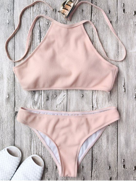 $11.99 Ribbed Textured High Neck Bikini Set - PINK M