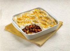 Easy Shepherd's Pie--Dinty Moore Beef Stew, Mashed Potatoes, & Shredded Cheese---so easy to make!