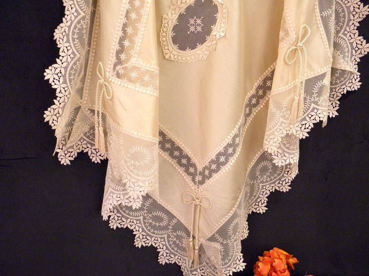 Buy Luxury Ecru Silk Tablecloth with Viennese Laces - Try Handmade Gallery - Free Handmade Advertising