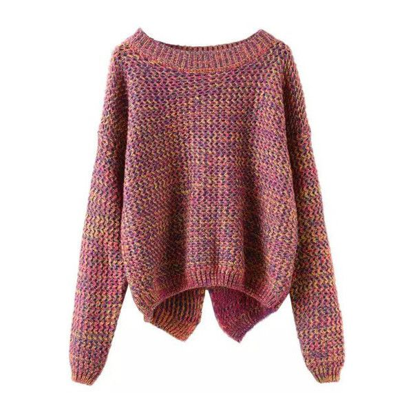 SheIn(sheinside) Long Sleeve Slit Back Purple Sweater (£14) ❤ liked on Polyvore featuring tops, sweaters, shirts, jumpers, multi color, long sleeve jumper, color block sweater, purple long sleeve shirt, long sleeve pullover and long sleeve shirts