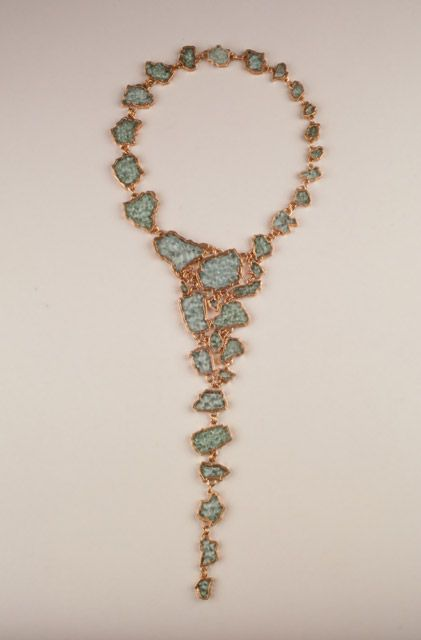 Tzu-Ju Chen ~ Islands, necklace, 32 inches. Electroformed copper and found broken windshield glass. 2000 photo by Dennis Gaffney