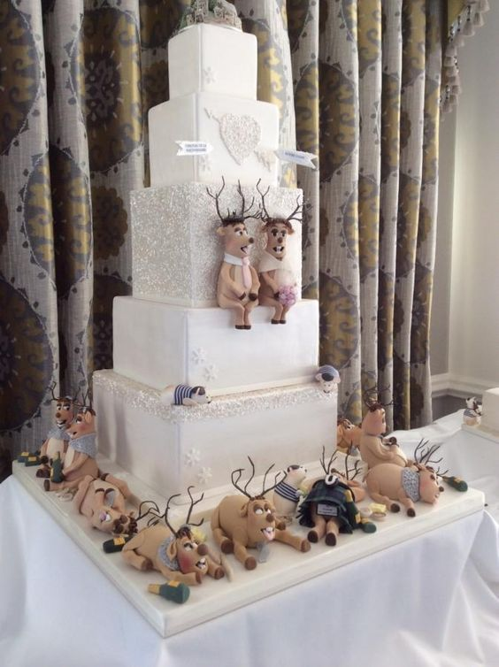 Christmas reindeer wedding cake - Cake by Anna Caroline Cake Design