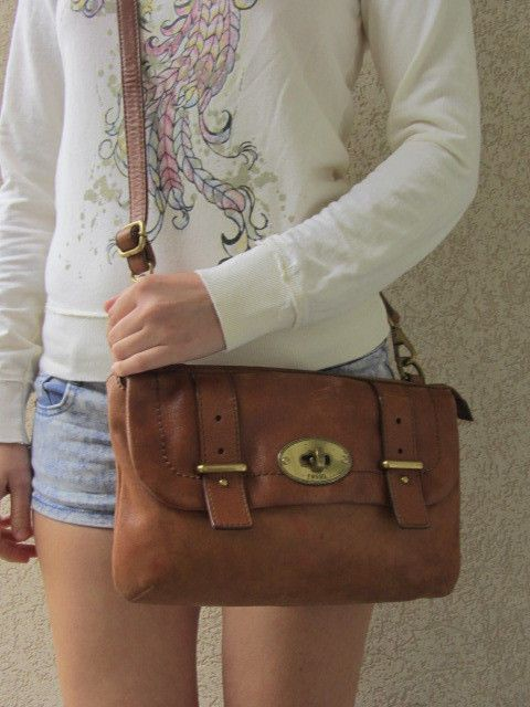 FOSSIL Brown Leather Crossbody Bag w/Chain Strap Purse #Fossil #MessengerCrossBody