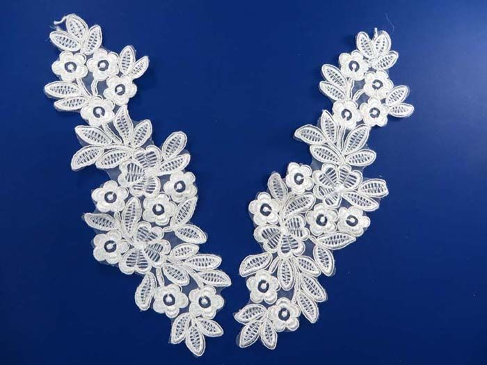2 pieces venise bridal sew on lace trim appliques wholesale craft supply $4.50 - http://www.wholesalesarong.com/blog/2-pieces-venise-bridal-sew-on-lace-trim-appliques-wholesale-craft-supply-4-50/