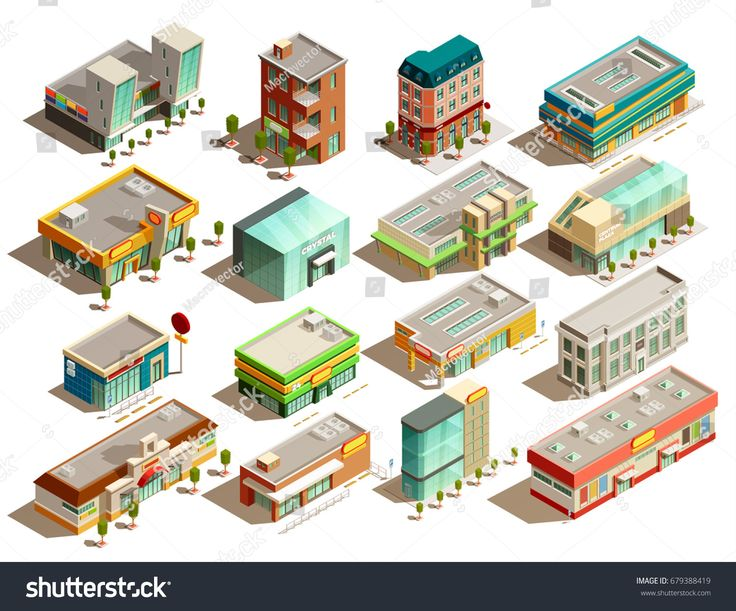 By Macrovector Modern urban store buildings of different styles isometric icons set isolated on white background vector illustration