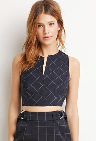 Buy it now. LOVE21 Women's  Navy & Grey Contemporary Plaid V-Cut Crop Top. Forever 21 Contemporary - Equal parts smart and flirty by way of sharply tailored bust darts and a cropped fit, this sleeveless top is a sartorial slice of heaven. Its V-cut split neck is daring, but the plaid print lends it a dose of menswear-inspiration. Complete the look by pairing it with the matching pencil skirt. Fully lined, wovenConcealed back zipperShell: 66% polyester, 32% rayon, 2% spandex; Lining: 100%…