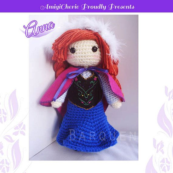 Crochet Frozen Anna Doll : Crochet Doll - Frozen Inspired- Princess Anna Inspired ...
