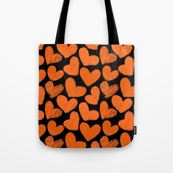 Sketchy hearts in orange and black tote bag by Colorshop This design is also available on many different products like iPhone and Samsung case, throw pillows, wall clocks, laptop sleeves, comforters, throw blankets, duvet covers, t-shirts, tank tops, carry all pouches, beach and bath towels, tote bags, leggings, coffee mugs, shower curtains, wall tapestries, rugs … #style #fashion #accessories