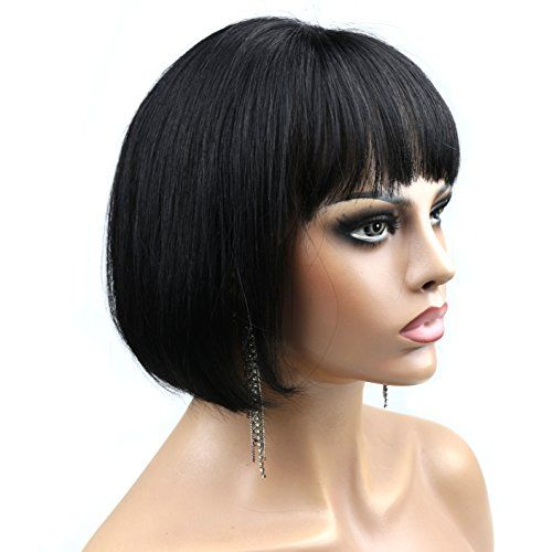 WOB Hair 130 Density Unprocessed Glueless Lace Front Wig 100 Malaysian Hair bob wigs with bangs for black women 10inch 1