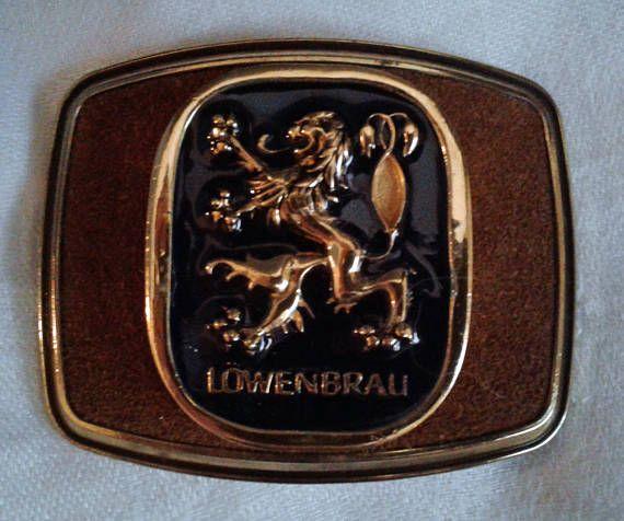 Lowenbrau Beer Belt Buckle Lowenbrau Advertising Gold Tone