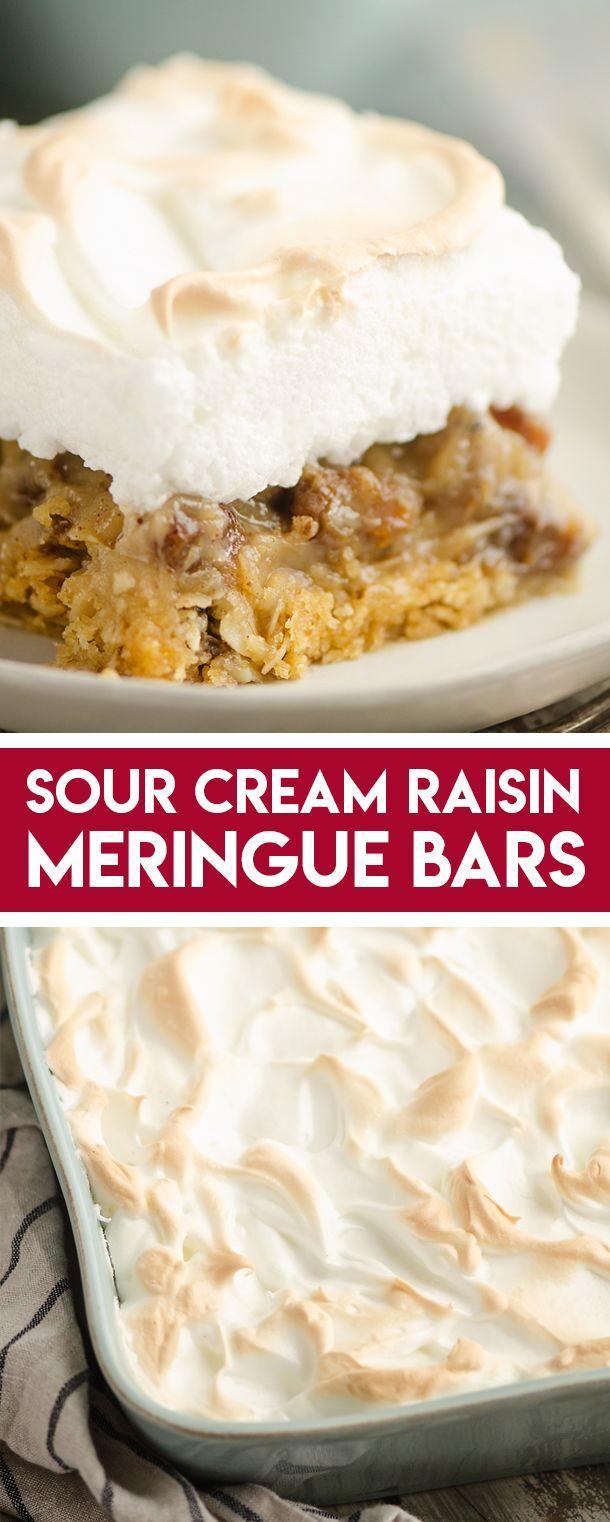 Sour Cream Raisin Meringue Bars Are An Easy Twist On The Old Fashioned Pie Recipe With A Buttery Oatmeal Cru In 2020 Sour Cream Raisin Pie Raisin Pie Meringue Desserts