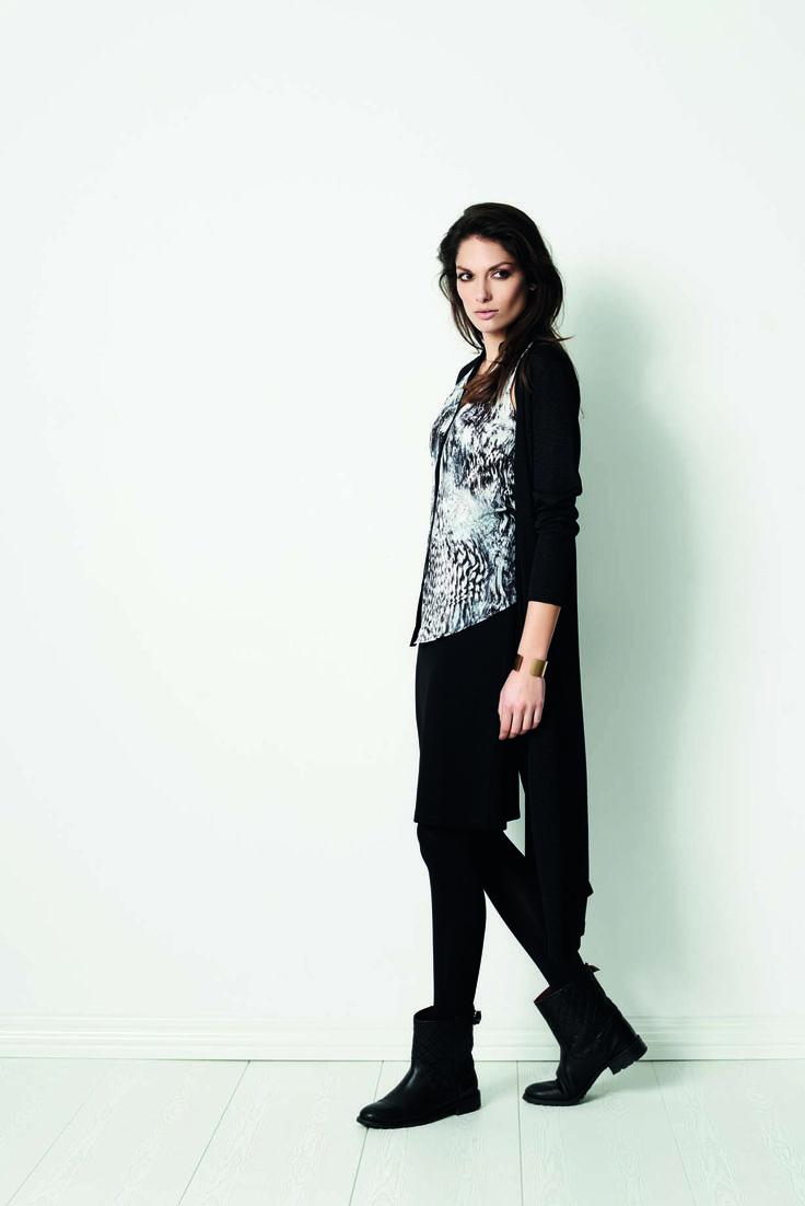 soyaconcept - cardigan - knit - top - blouse - skirt - leggings - print - pattern