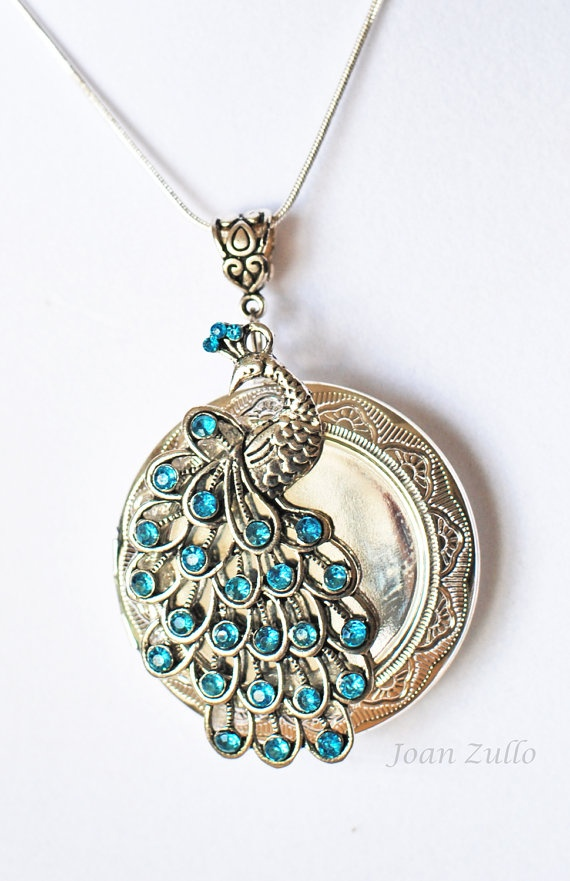 Locket Necklace Peacock and Sterling Silver 26 inch by Atelier500, $26.89