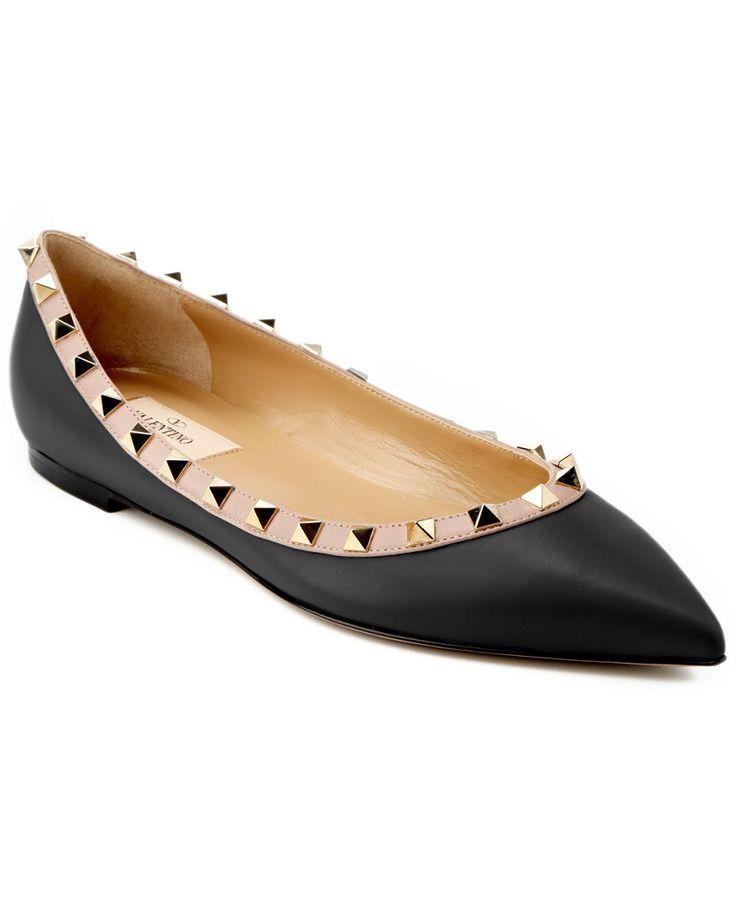 Valentino Rockstud Patent Ballet Flat Black