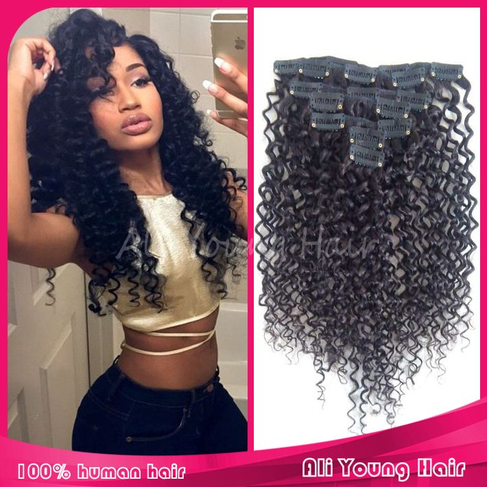 29 best clip on images on pinterest clip in hair extensions find more wigs information about brazilian kinky curly clip in human hair extensions 6a grade 100 pmusecretfo Choice Image