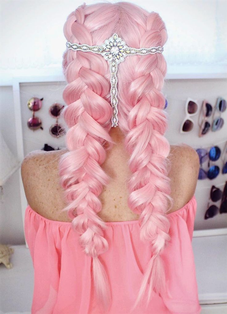 Double braid pastel pink wig by thelittlemua