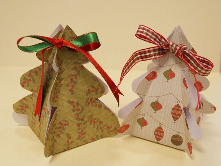 Christmas tree gift boxes for you to print and build, great for holding sweet treats, trinkets and stocking fillers, finish with ribbon ...